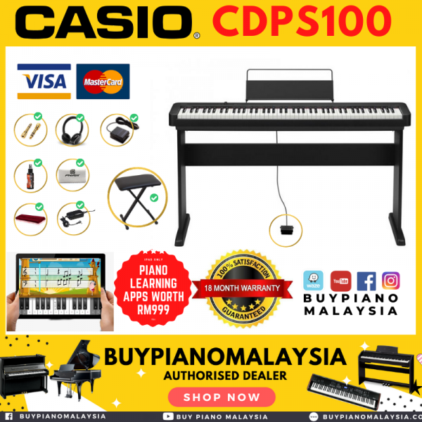 Casio CDPS100 Digital Piano with Keyboard Bench 9 in 1 package